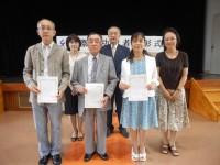 前列左から「日本語ボランティアゆうわ」鶴石様、酒井様、「いろはの会」家島様、河井様、後列左から玉串事務局長、有馬理事長